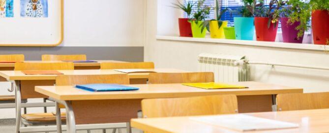 stock photo empty desks in empty classroom