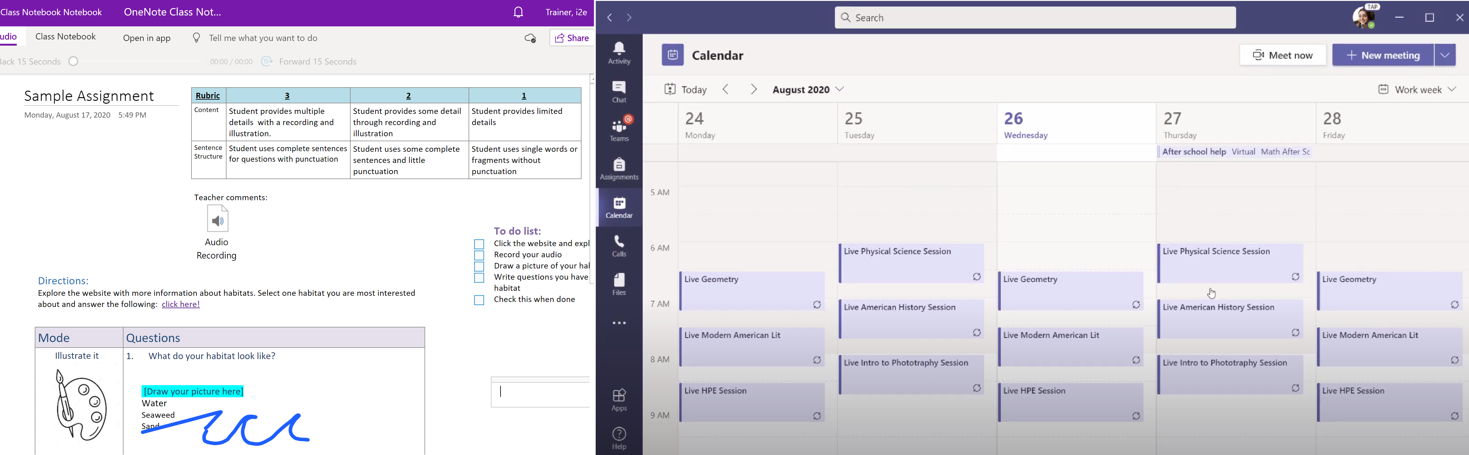 OneNote and Teams view