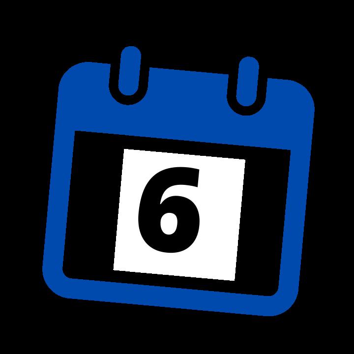 blue calendar date 6