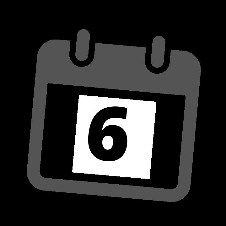 grey calendar date 6