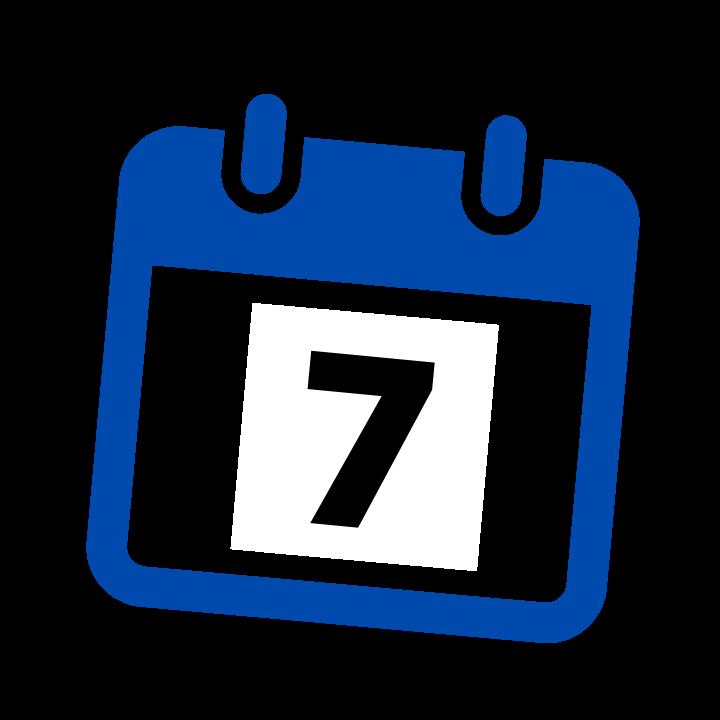 blue calendar date 7