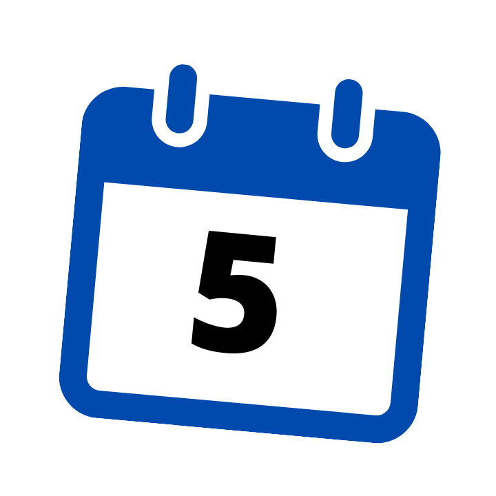 blue calendar date 5