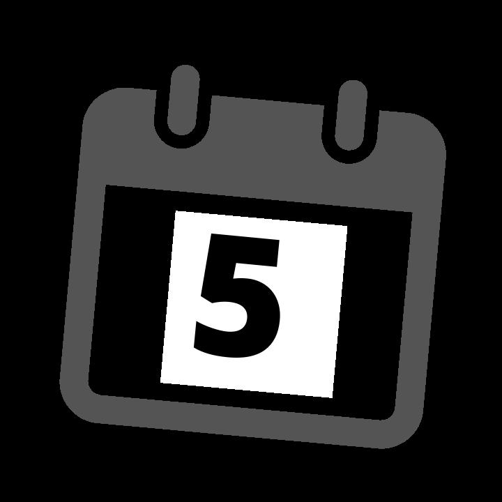 grey calendar date 5