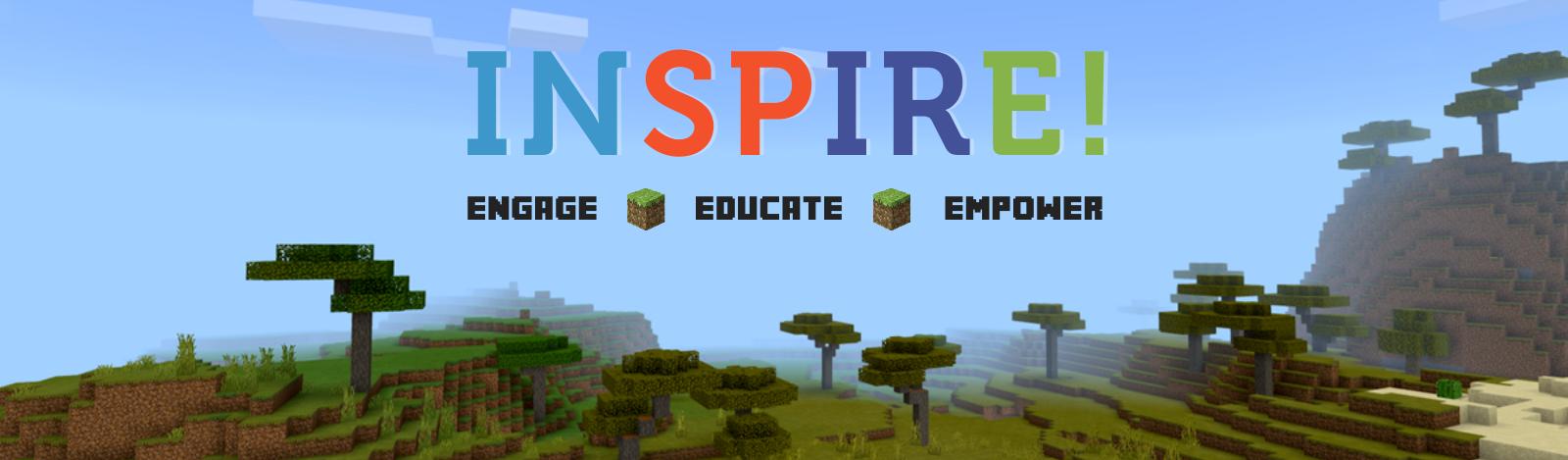 Inspire logo on Minecraft landscape