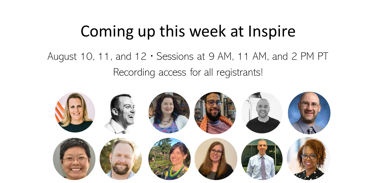 Coming up this week Inspire times and images of presenters.